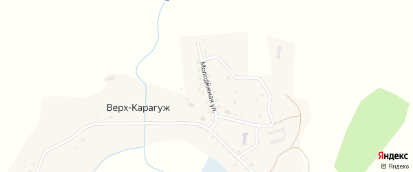 Молодежная улица на карте села Верх-Карагуж Алтая с номерами домов