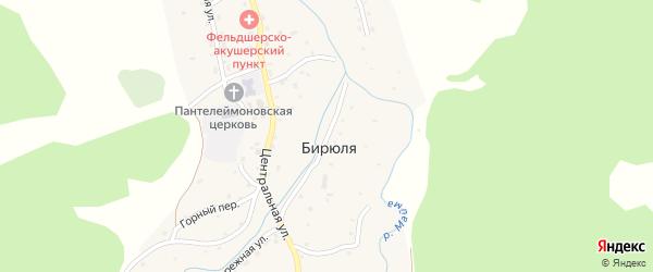 Заречная улица на карте села Бирюли Алтая с номерами домов