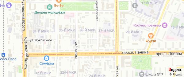 Переулок Чкалова на карте Кемерово с номерами домов