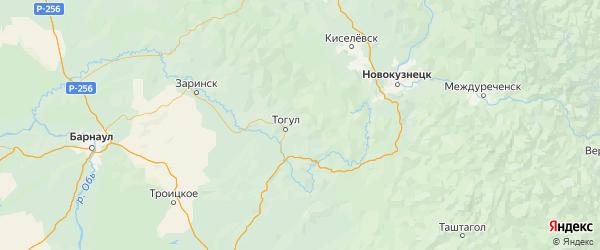 Карта Тогульского района Алтайского края с городами и населенными пунктами
