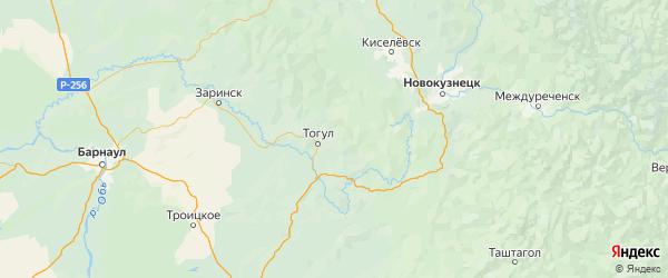 Карта Тогульского района Алтайского края с населенными пунктами и городами
