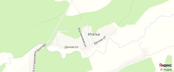 Карта деревни Итатки в Томской области с улицами и номерами домов