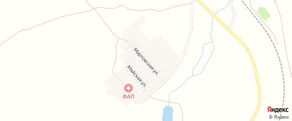 Мартовская улица на карте Солнечного поселка Кемеровской области с номерами домов