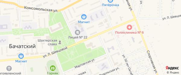 Улица Шевцовой на карте Бачатского поселка с номерами домов