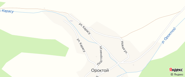 Улица Карасу на карте села Ороктой Алтая с номерами домов