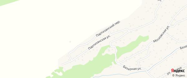 Партизанский переулок на карте села Онгудая Алтая с номерами домов