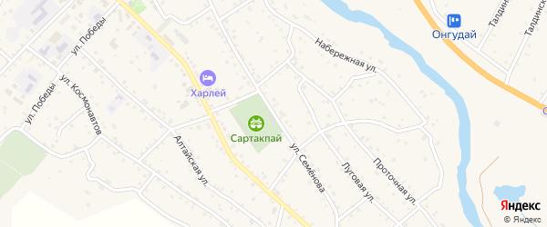 Улица Семенова на карте села Онгудая Алтая с номерами домов