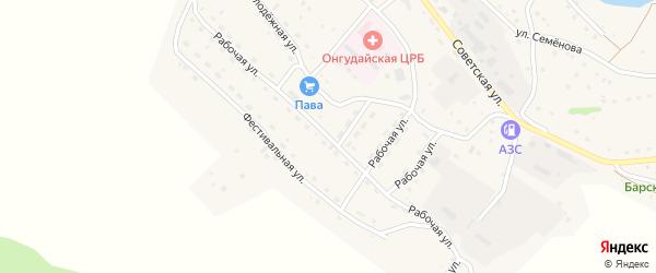 Рабочая улица на карте села Онгудая Алтая с номерами домов