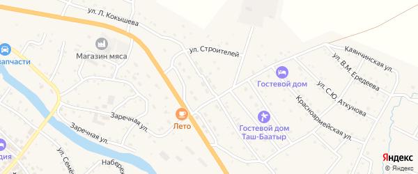 Улица Строителей на карте села Онгудая Алтая с номерами домов