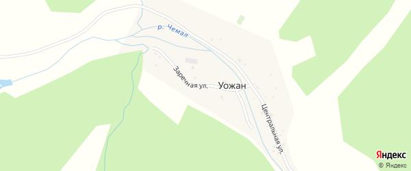 Заречная улица на карте села Уожана Алтая с номерами домов