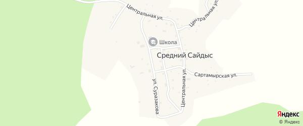 Улица С.Суразакова на карте села Среднего Сайдыса Алтая с номерами домов