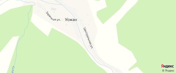 Центральная улица на карте села Уожана Алтая с номерами домов