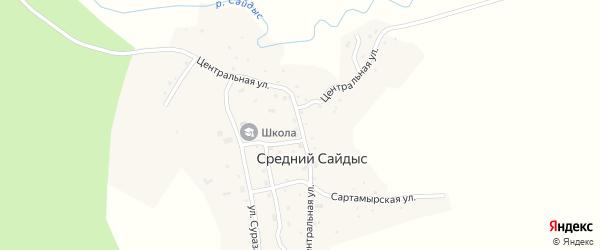 Центральная улица на карте села Среднего Сайдыса Алтая с номерами домов