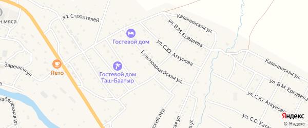 Красноармейская улица на карте села Онгудая с номерами домов