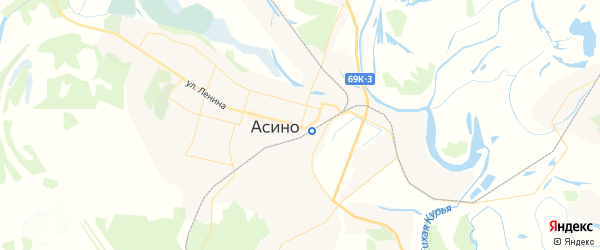 Карта Асино с районами, улицами и номерами домов: Асино на карте России