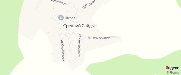 Сартамырская улица на карте села Среднего Сайдыса Алтая с номерами домов
