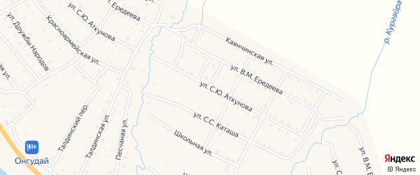 Улица С.Ю.Аткунова на карте села Онгудая Алтая с номерами домов