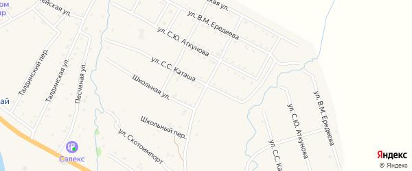 Улица С.С.Каташа на карте села Онгудая Алтая с номерами домов