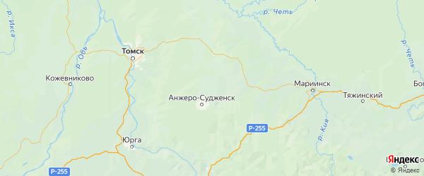 Карта Яйского района Кемеровской области с городами и населенными пунктами