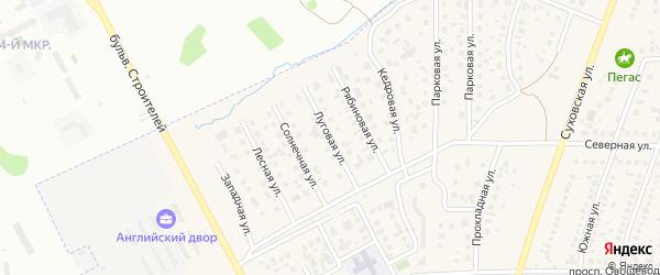 Луговая улица на карте поселка Металлплощадки Кемеровской области с номерами домов