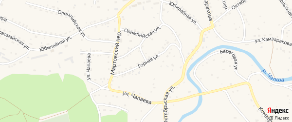 Горная улица на карте Красногорского села с номерами домов