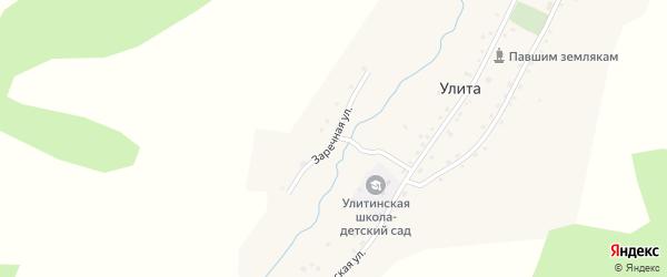Заречная улица на карте села Улиты Алтая с номерами домов