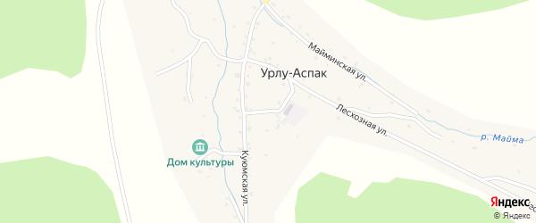 Школьный переулок на карте села Урлу-Аспак Алтая с номерами домов