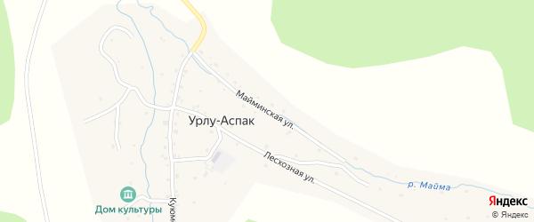 Майминская улица на карте села Урлу-Аспак Алтая с номерами домов