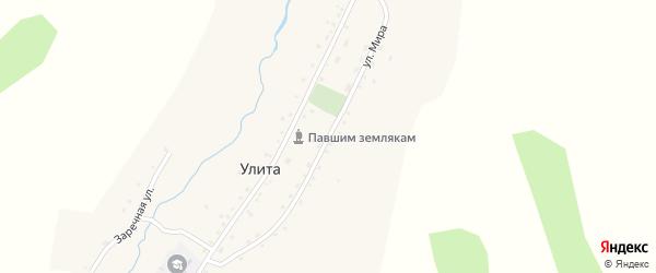 Улица Мира на карте села Улиты Алтая с номерами домов