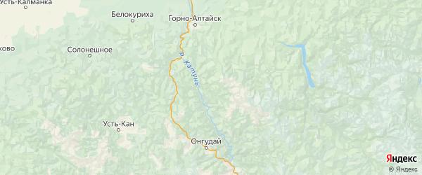 Карта Чемальского района Республики Алтая с городами и населенными пунктами