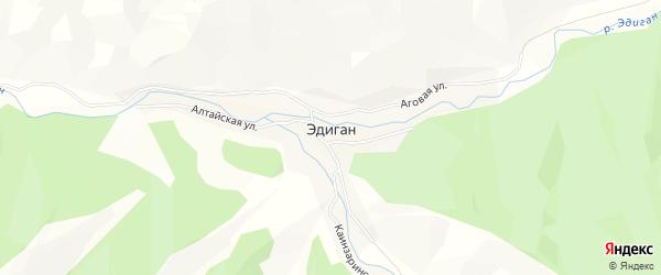 Карта села Эдигана в Алтае с улицами и номерами домов