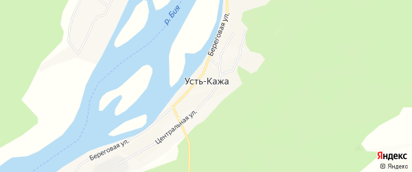 Карта села Усть-Кажи в Алтайском крае с улицами и номерами домов