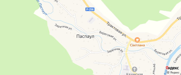 Заречная улица на карте села Паспаула Алтая с номерами домов