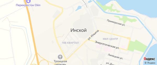 Карта Инского поселка города Белово в Кемеровской области с улицами и номерами домов