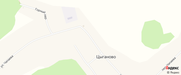 Улица Чапаева на карте села Цыганово Томской области с номерами домов