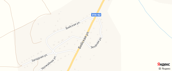 Бийская улица на карте села Солтона Алтайского края с номерами домов