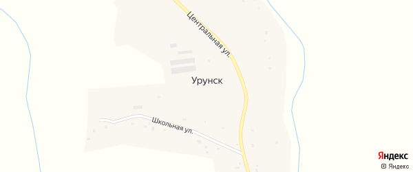 Центральная улица на карте села Урунска с номерами домов