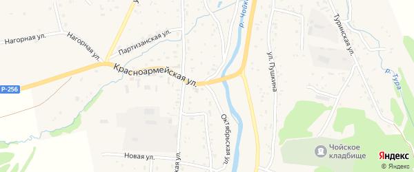 Октябрьская улица на карте села Чоя Алтая с номерами домов
