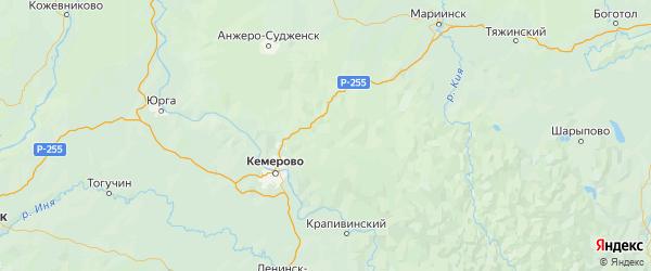 Карта Кемеровского района Кемеровской области с городами и населенными пунктами