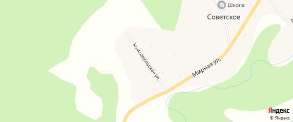 Комсомольская улица на карте Советского села Алтая с номерами домов