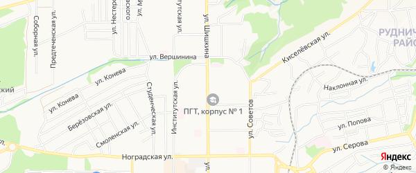 Территория 39-я Шишкина на карте Прокопьевска с номерами домов