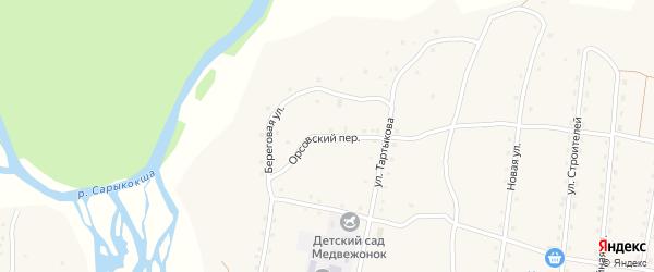 Орсовский переулок на карте села Каракокши Алтая с номерами домов