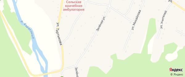 Зеленая улица на карте села Каракокши Алтая с номерами домов