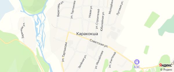 Карта села Каракокши в Алтае с улицами и номерами домов