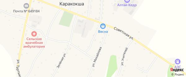 Карусаевский переулок на карте села Каракокши Алтая с номерами домов