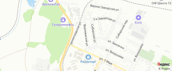 Воронежская улица на карте Киселевска с номерами домов