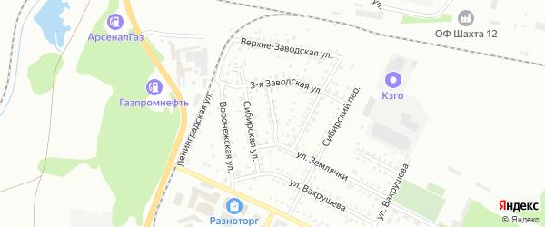 Безымянный переулок на карте Киселевска с номерами домов