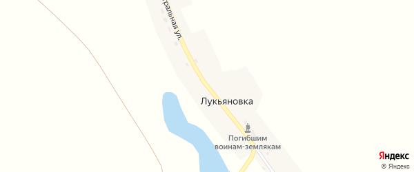 Центральная улица на карте деревни Лукьяновки Кемеровской области с номерами домов