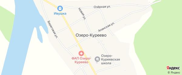 Береговая улица на карте села Озеро-Куреево Алтая с номерами домов