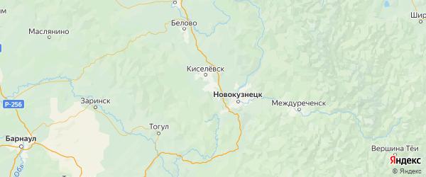 Карта Прокопьевского района Кемеровской области с городами и населенными пунктами